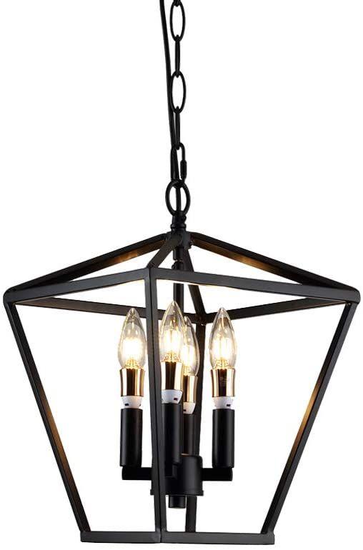 4 Black Pendant Light Lantern Geometric Pendant Cage Foyer Chandelier Lighting Farmhouse I In 2020 Lantern Ceiling Lights Black Pendant Light Industrial Light Fixtures