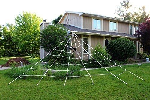 Giant Triangular Spider Web In 2020 Halloween Outdoor Decorations Outdoor Halloween Spider Web Halloween Decorations