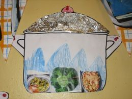 pan knippen, deksel beplakken met alu.folie. De kinderen knippen plaatjes uit met producten die je kan koken.