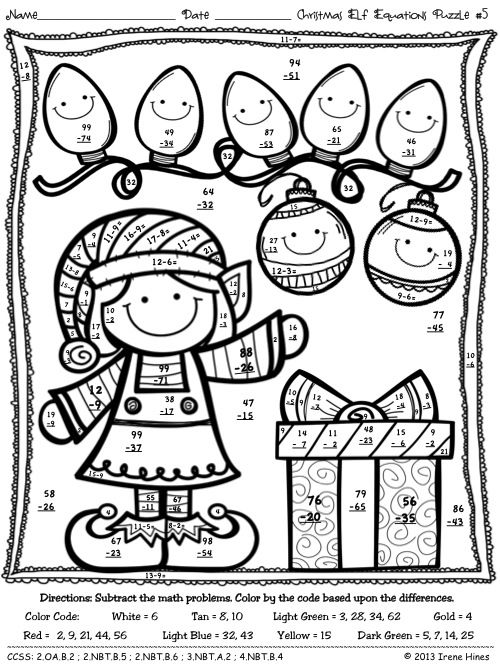 Christmas Math Activities ~ Christmas Elf Equations ~ Color By The ...