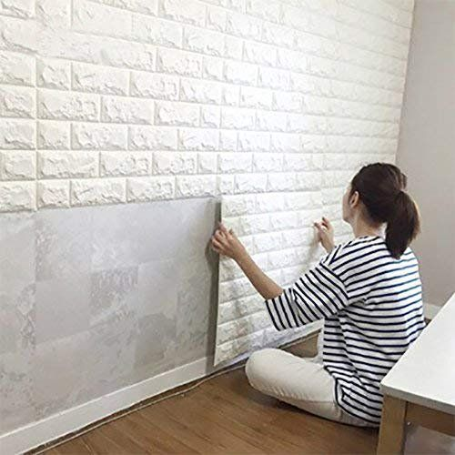 White Brick 3d Wall Panels Peel And Stick Wallpaper For Living Room Bedroom Kitchen Tv Walls Sofa Background Wall Decoration Walmart Com White Brick Wallpaper Brick Wall Paneling Cheap Wall Covering