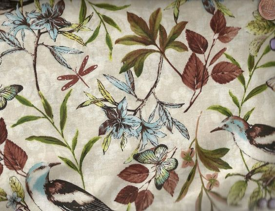 Forest Walk Quilt Fabric Out Of Print Premium Cotton Birds Butterflies Leaves #WilmingtonPrints