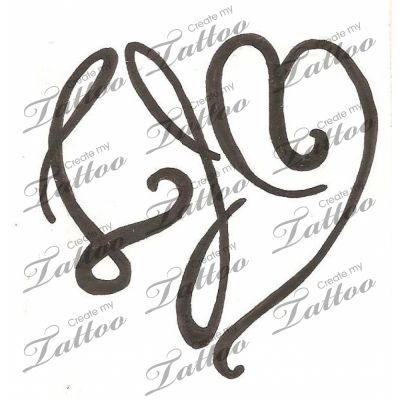 initials in a heart shape custom tattoo initials in a heart shape 3 27520 createmytattoo. Black Bedroom Furniture Sets. Home Design Ideas