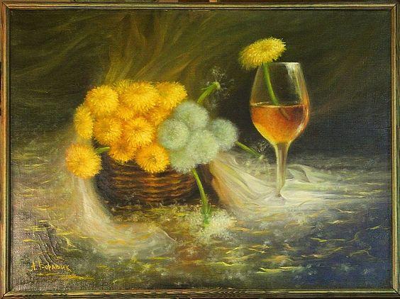 Минск. Одуванчик в бокале с вином.