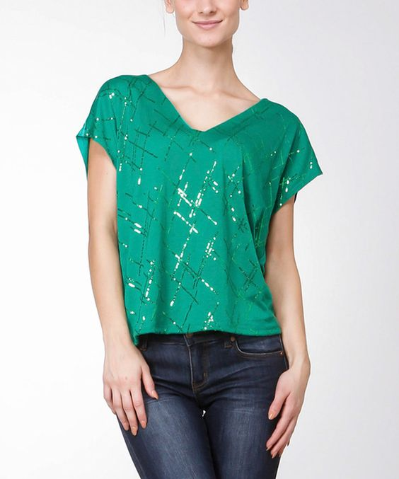 Love this Green Sequin Embellished V-Neck Top by Bellino on #zulily! #zulilyfinds
