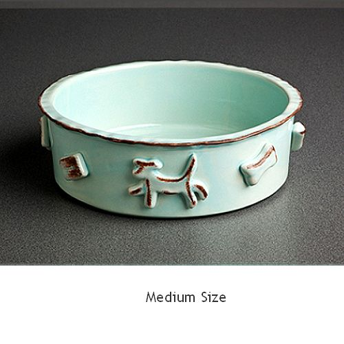 Baby Blue Ceramic Stoneware Dog Food / Water Bowl | Neiman Barkus Couture - Meal time will take on a whole new dynamic when it's served from this whimsical dog bowl.  Perfect for food or water.  Handmade of ceramic stoneware with raised appliques all around the bowl and is microwave and dishwasher safe.  Makes a great gift for the dog lover.