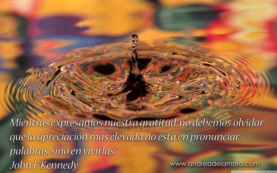 Mientras expresamos nuestra gratitud, no debemos olvidar que la apreciación más elevada no está en pronunciar palabras, sino en vivirlas.  John F. Kennedy | Andrea de la Mora