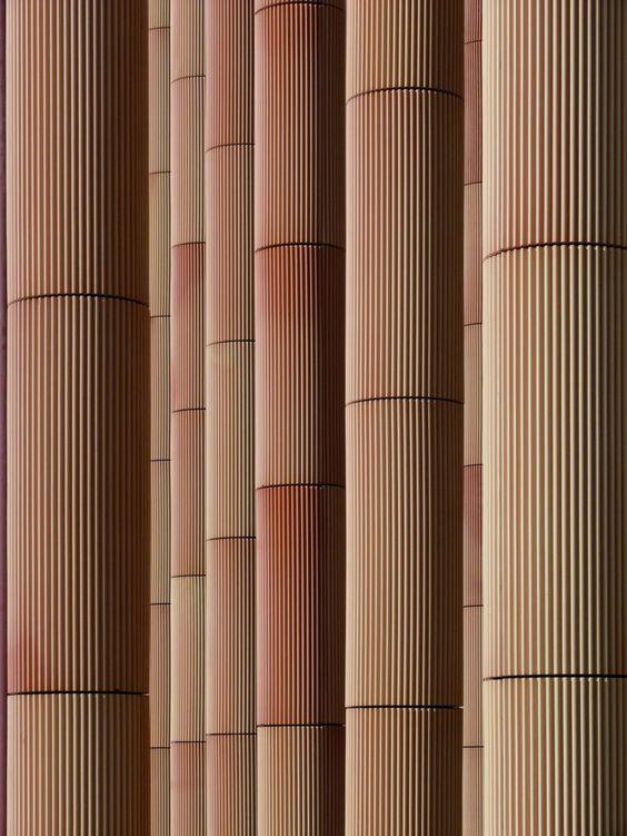 Spanish Pavilion Expo Zaragoza 2008   Francisco Mangado   Clay-clad steel columns detail