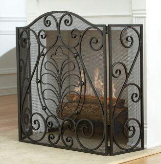 Pantallas de la chimenea de hierro forjado de hierro 001 for Puertas para chimeneas