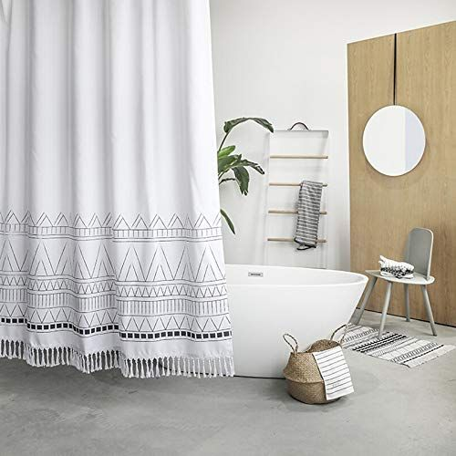 Yokii Tassel Fabric Boho Shower Curtain Shower Curtains Boutique