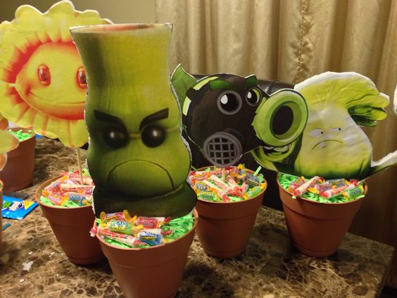Party centerpieces zombies and plants on pinterest