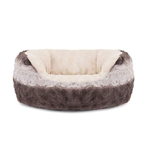 40 Winks Oval Sleepers Grey Cream Snuggle Plush 25 Ped Bed Dog Bed Dog Beds For Small Dogs Cat Bed