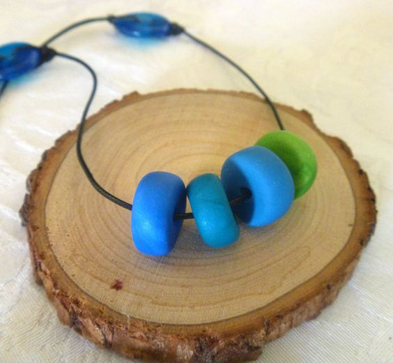 Ocean Blue Polymer Clay Necklace Handmade Clay Bead Cord Necklace