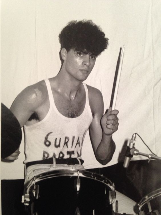 Bruno Spinazzola as a Drummer in Burial Party, punk band in Paris in the 80's... in concert