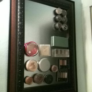 I made this to organize my makeup! I think it turned out cute. R