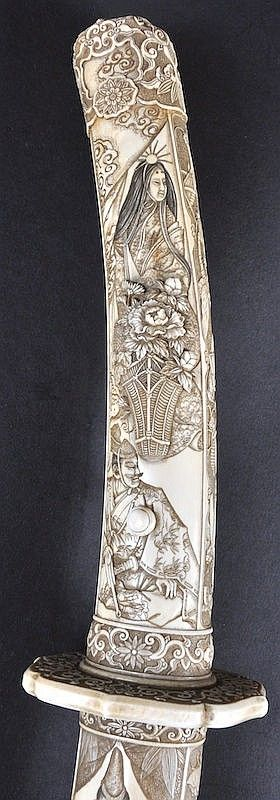 A SUPERB 19TH CENTURY JAPANESE MEIJI PERIOD IVORY CASED SAMURAI SWORD exceptionally carved all over with figures within interiors and landscapes, flanked by insects upon an textured ground. 3ft 1ins long.
