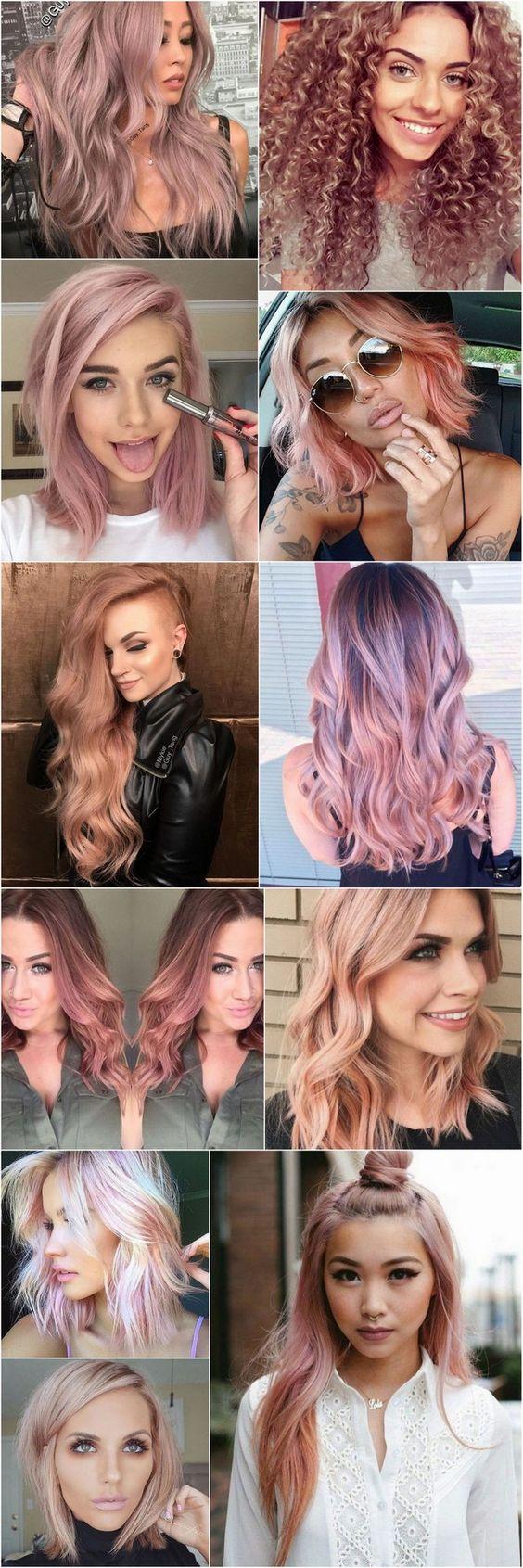 Cabelos coloridos: A tendência de cor para 2016 e 2017 é o Loiro Rosé (ou rose gold hair), quase um ouro rosé ou um rosa envelhecido pastel. A cor foge dos loiros platinados e acinzentados, dando mais vida e alegria. Combina com todos os tons de pele e tipos de cabelo. Vejam o cabelo cacheado loiro rosé como ficou lindo, eu amei. #LoiroRosé #RoseGold #CabelosColoridos: