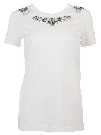 DOLCE & GABBANA T-Shirt Dolce & Gabbana, White Cotton , Lengthened Hem, Round Neck With Rhinestone Embellishments Un. #dolcegabbana #cloth #topwear