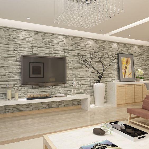 Hanmero papier peint motif de pierre brique imitation - Papier peint moderne chambre ...