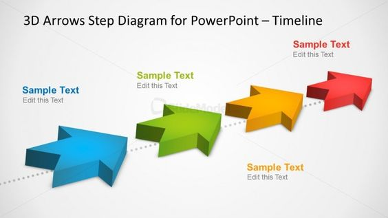 4 Milestones Timeline Template with 3D Arrows in PowerPoint Template - sample powerpoint timeline