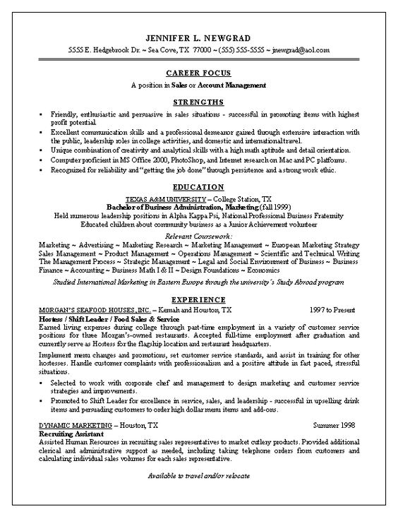 Example Of Resume For Fresh Graduate -    wwwresumecareer - sales employee relation resume