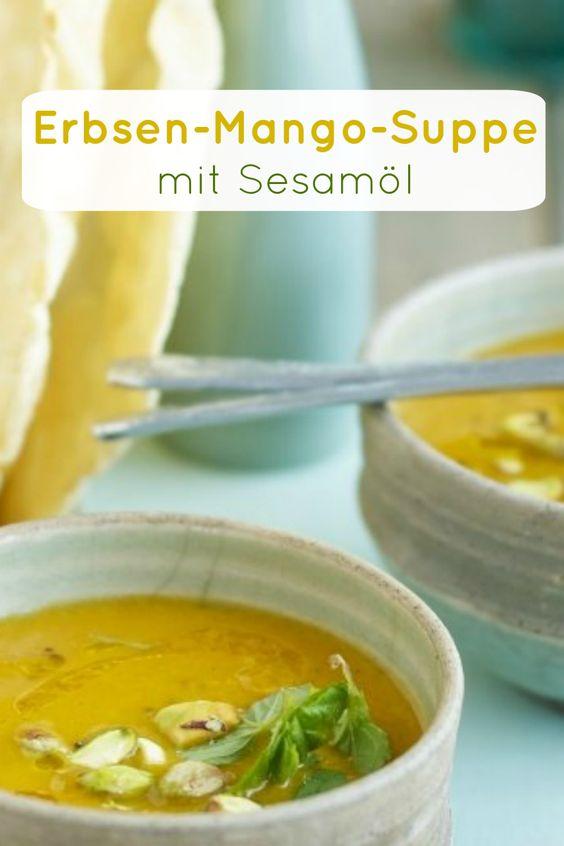 Erbsen-Mango-Suppe mit Sesamöl, Mango und Pistazien ist schon ein Geschmacks-Highlight! | Zeit: 20 Minuten | http://eatsmarter.de/rezepte/erbsen-mango-suppe-mit-sesamoel