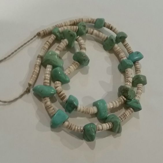 "Beautiful Vintage Santo Domingo Necklace Heshi shell necklace with 20 Turquoise stone necklace on a heavy wax cord. 36"" long Vintage Jewelry Necklaces"