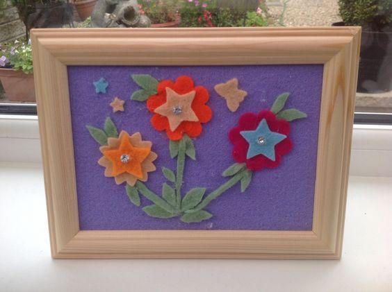 Felt flowers in a frame