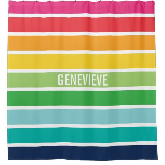 Personalized Rainbow Stripes Shower Curtain Zazzle Com With Images Striped Shower Curtains Rainbow Stripes Shower Curtain