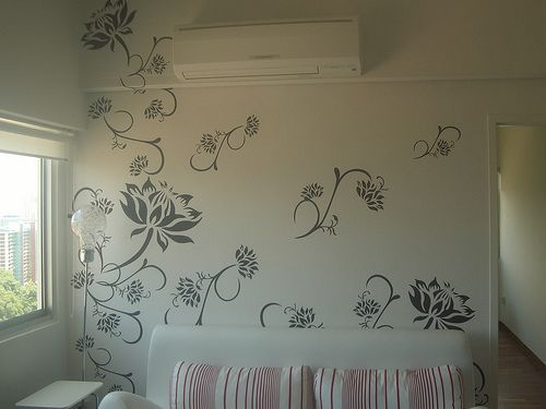 Wall Design Paint Images : Wall paint stencil designs with house