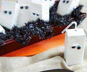 Mummy juice boxes - white duct tape and googley eyes