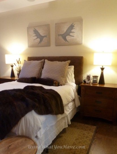 Easy DIY moose antler art in master bedroom.  From UsingWhatYouHave.com.
