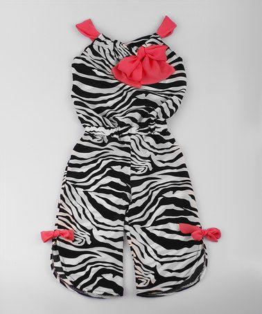Look what I found on #zulily! Black & White Zebra Jumpsuit - Toddler & Girls by Mia Belle Baby #zulilyfinds