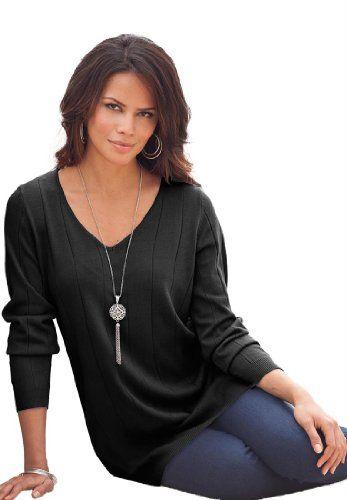Roamans Women's Plus Size Fine Gauge V-Neck Sweater (Black,L) Roamans