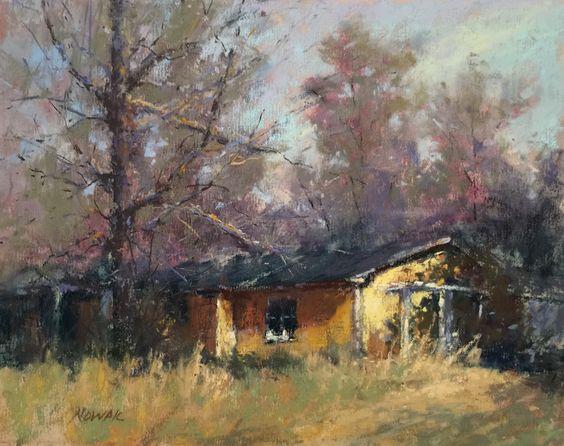 "nancy nowak, ""little yellow house,"" 2015, pastel on uart 400. this"