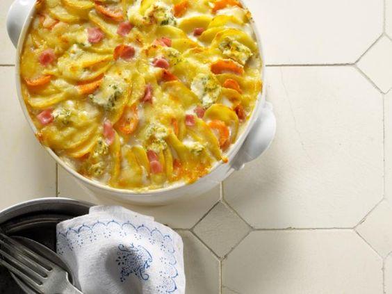 Kartoffelgratin mit Frischkäse und Möhren. Ausprobiert, wird wieder gemacht aber mit eigener Gratinsauce. Die Sauce von Thomy schmeckt irgendwie künstlich.  http://www.nestle-marktplatz.de/view/Marken/Thomy/Thomy-Rezept-Suche?id=53054