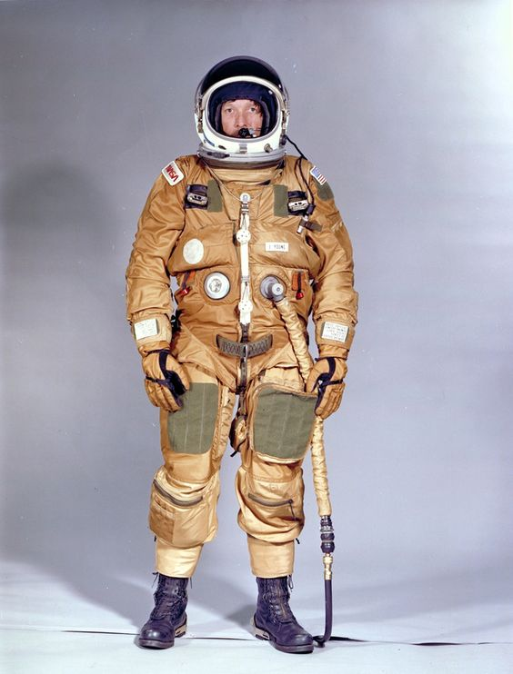 An early Space Shuttle ejection escape suit from the first Shuttle orbital test mission, modified version of a USAF high-altitude pressure s...