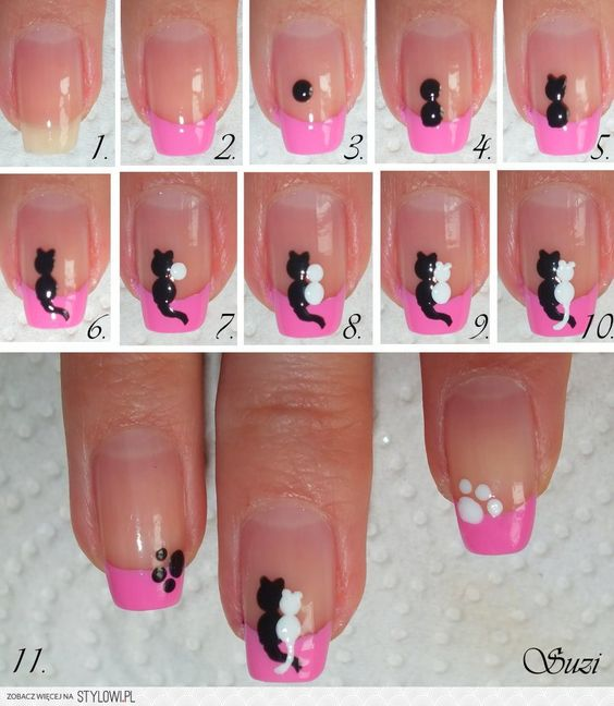 Do It Yourself Nail Designs: DIY Cats In Love Nail Design
