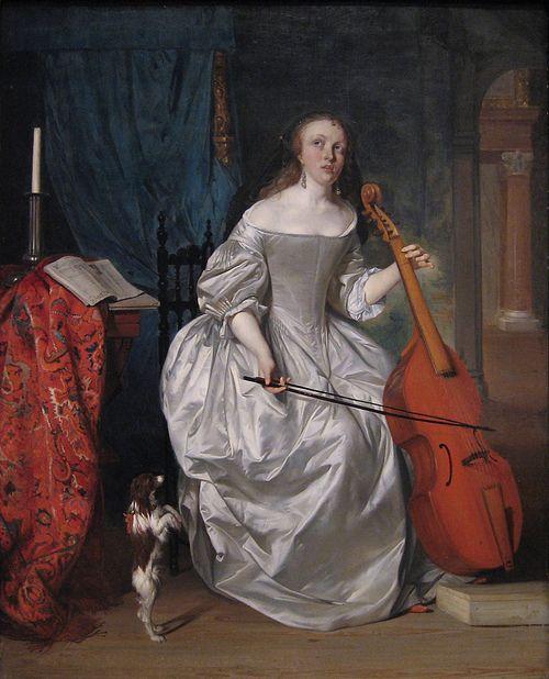 Woman Playing a Viola de Gamba (1663). Gabriel Metsu (Dutch, Baroque, Dutch Golden Age, 1629-1667). Oil on panel. Metropolitan Museum of Art.