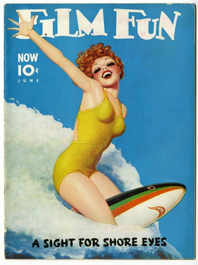 Surfing pin-up girl vintage poster