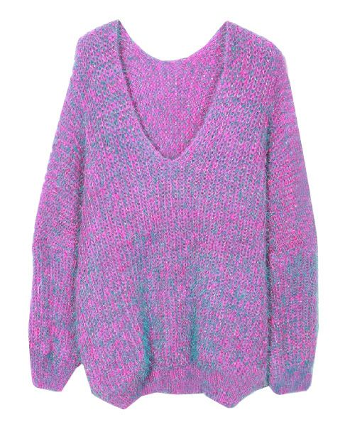 Double Color Knitted V-neckline Mohair Pullover