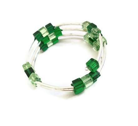 Coil Bangle Bracelet Metal Tube and Green Cube by BeadoRama123, £5.00