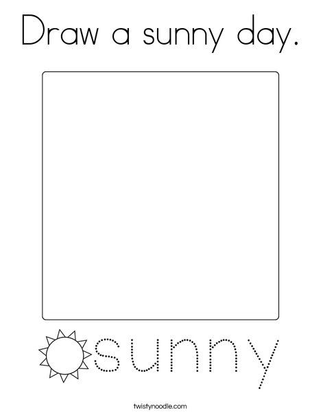 Draw a sunny day Coloring Page - Twisty Noodle