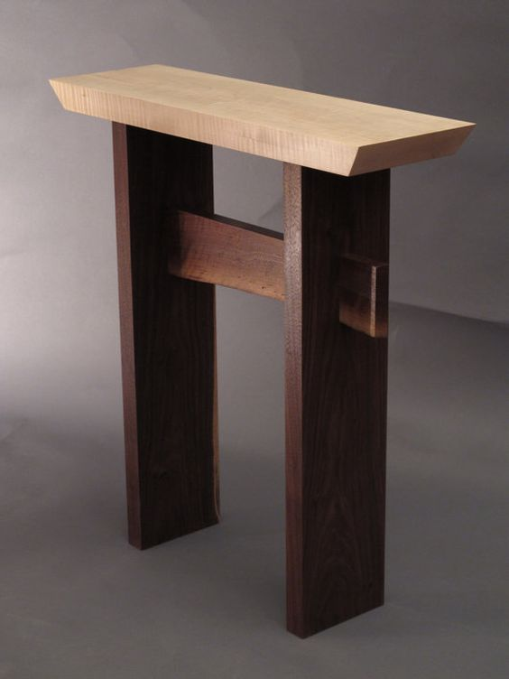Narrow side table w live edge stretcher handmade custom for Narrow accent table