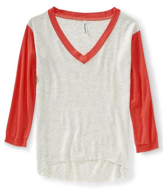 3/4 Sleeve V-Neck Sweater - Aeropostale