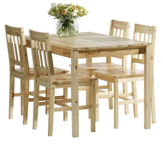 JYSK Furniture Dining Table W 4 Chairs Lacquered Pine