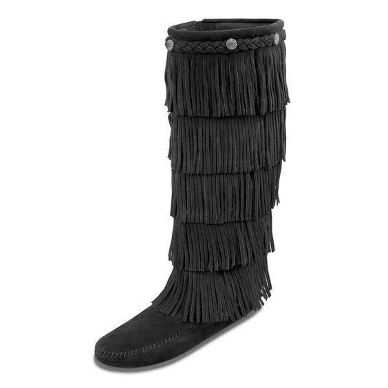 Minnetonka Womens 5 Layer Fringe Boots - Black Suede, Women's