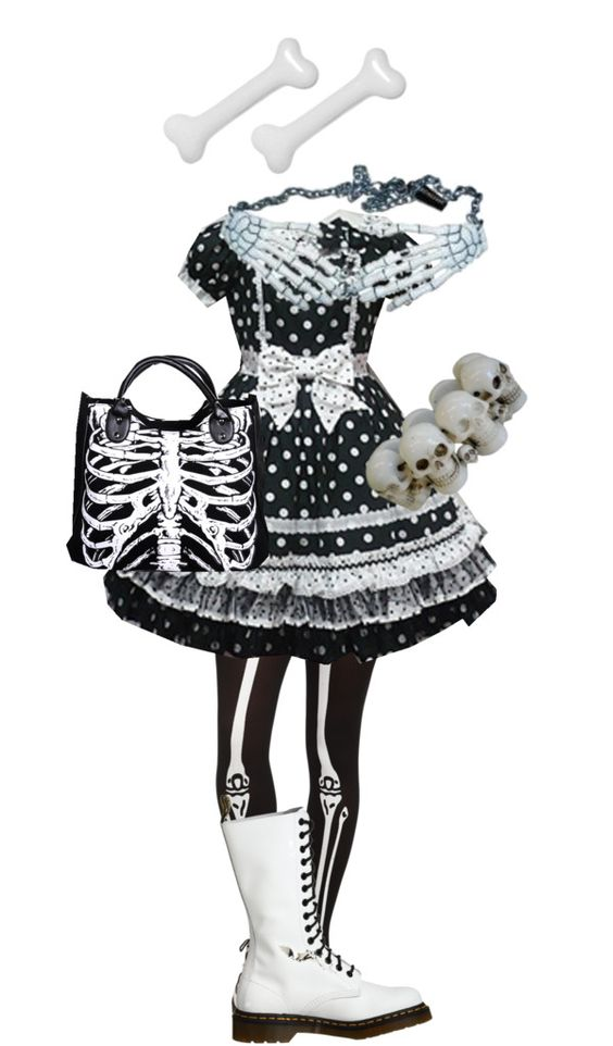 """Black and White Creepy Cute"" by stitchwork-panda ❤ liked on Polyvore"