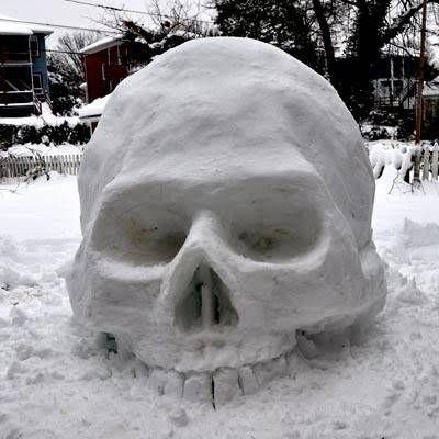 skull sculpture #snowSculpture #snow #winter #sculpture #horrorMovie