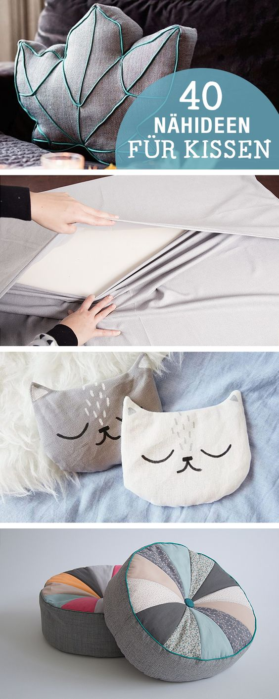 DIY-Anleitungen: 40 Nähideen für Kissen, DIY-Inspiration / diy sewing tutorials for cushion, crafting home decor via DaWanda.com